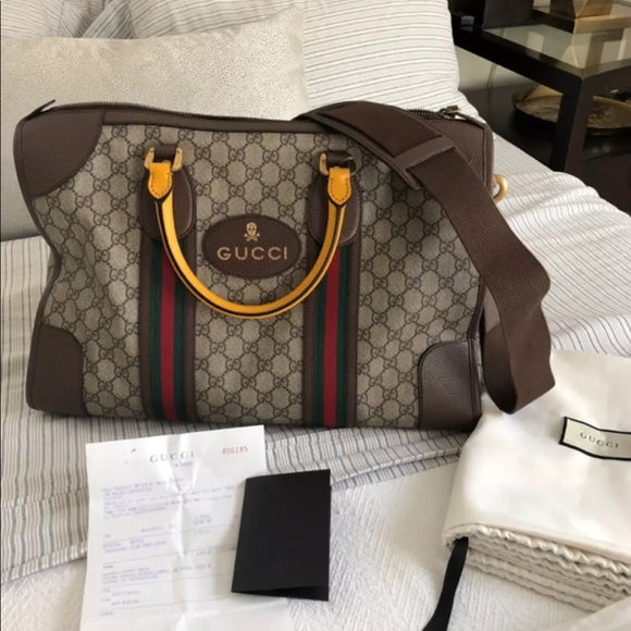 62ef25efa9ec Gucci soft GG Supreme duffle bag with web. NWT. Gucci.  M_5bb90dfd0cb5aa84e0337c51. M_5bb90dfe1b32942e8176bcc3.  M_5bb90dff819e9082ad07056c